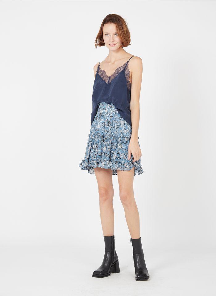 BERENICE Falda corta de crepé estampada con volantes y frunces en azul
