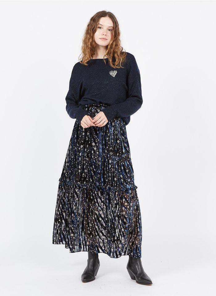 BERENICE Falda larga con estampado floral y flocado animal de terciopelo en azul