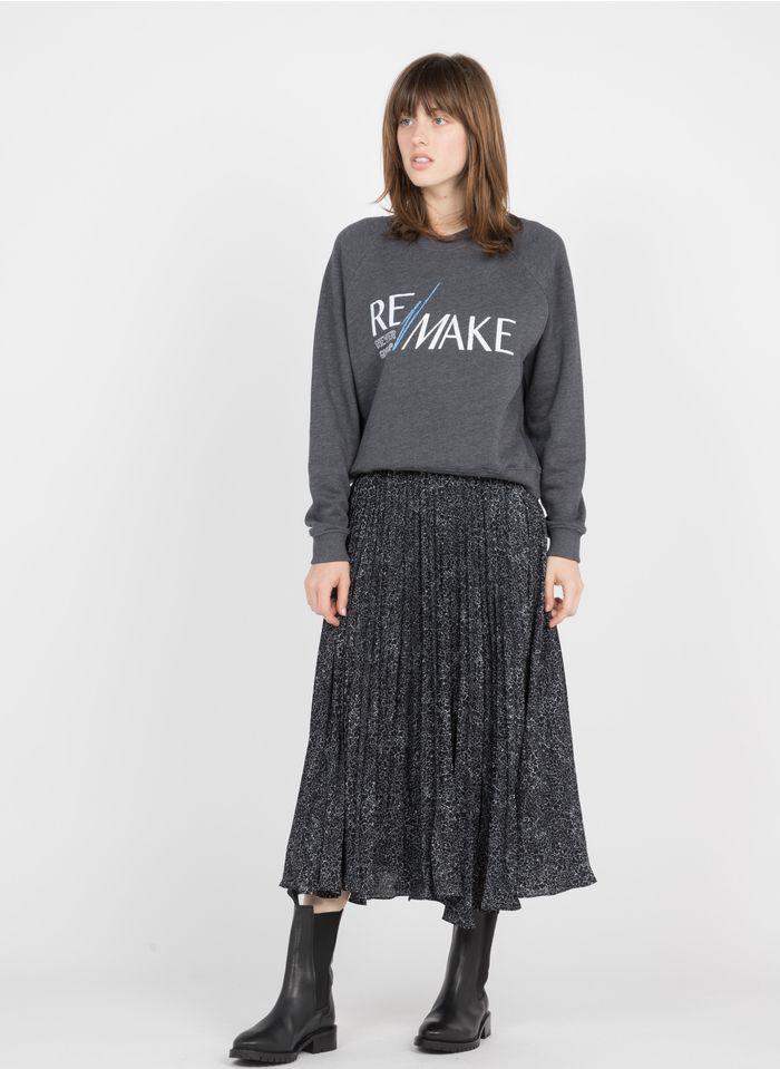 BERENICE Falda midi plisada de tejido reciclado estampado en negro