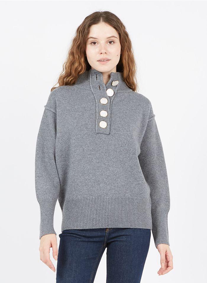 BERENICE Jersey de lana y cachemira con cuello alto en gris