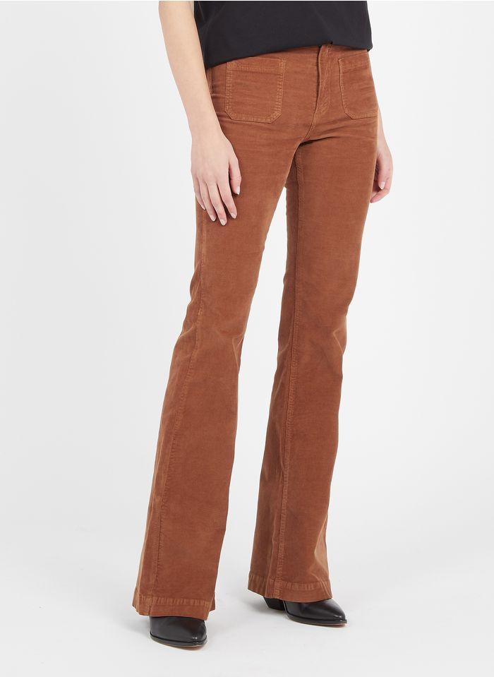 BERENICE Pantalón flare de terciopelo milrayas en marrón