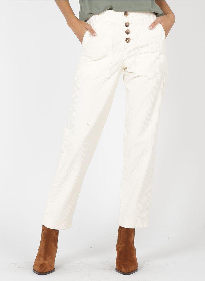 BERENICE Pantalón recto de terciopelo de algodón en blanco