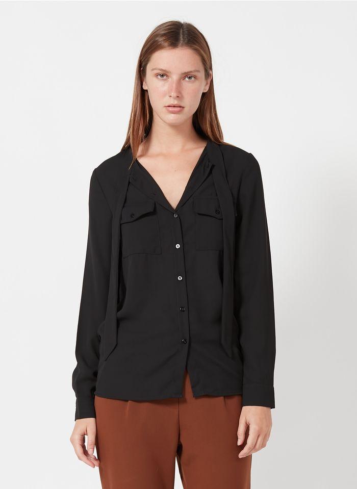 BEST MOUNTAIN Camisa vaporosa con cuello lazado en negro