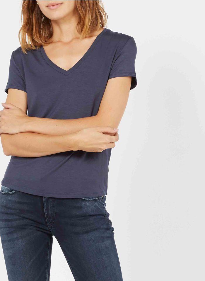 BEST MOUNTAIN Camiseta vaporosa con cuello de pico en azul