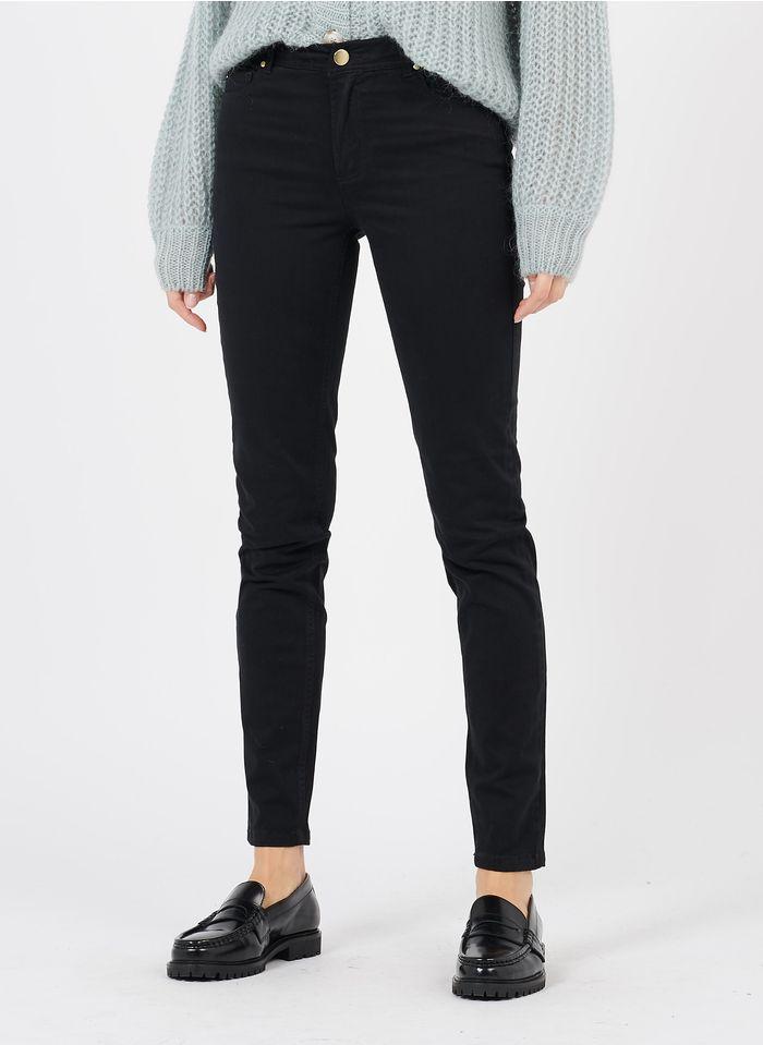 BEST MOUNTAIN Pantalón skinny de talle alto encerado en negro
