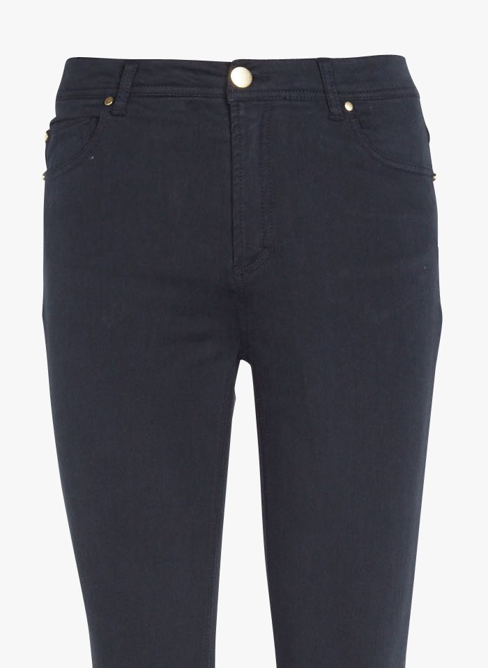BEST MOUNTAIN Pantalón slim de talle alto de mezcla de algodón en azul
