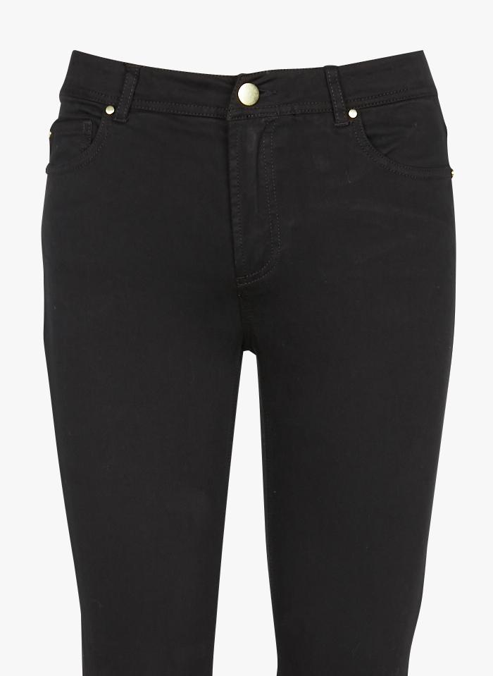 BEST MOUNTAIN Pantalón slim de talle alto de mezcla de algodón en negro