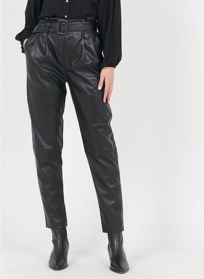 BEST MOUNTAIN Pantalón tapered de piel sintética en negro
