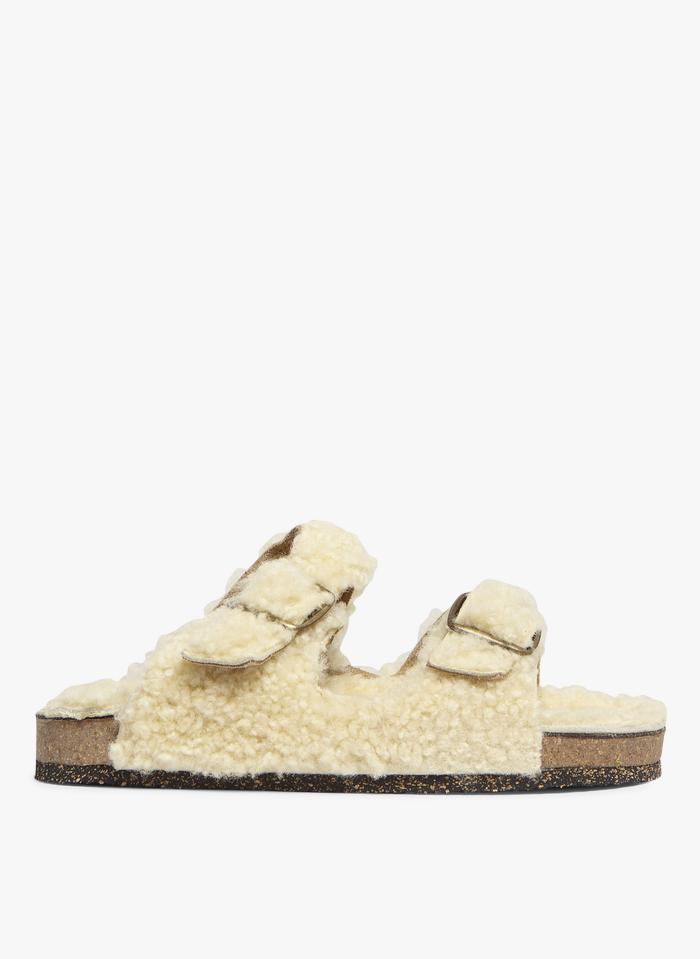 BOSABO Sandalias planas de piel de oveja con bridas en beige