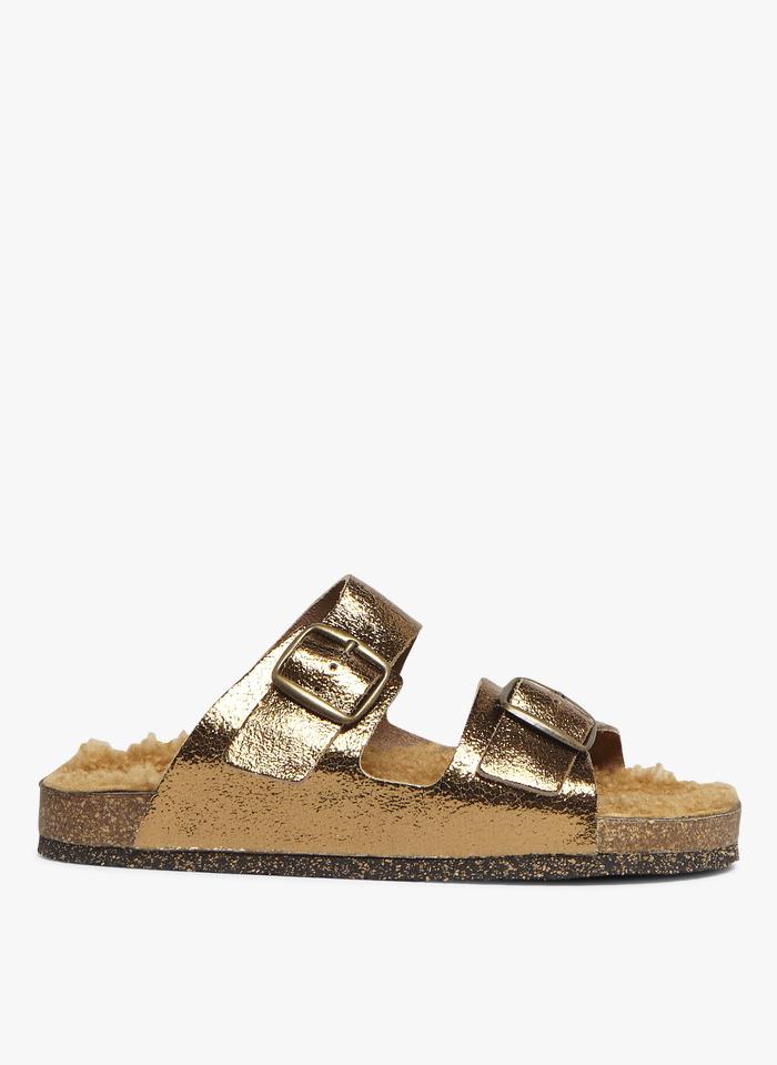 BOSABO Sandalias planas de piel metalizada en dorado