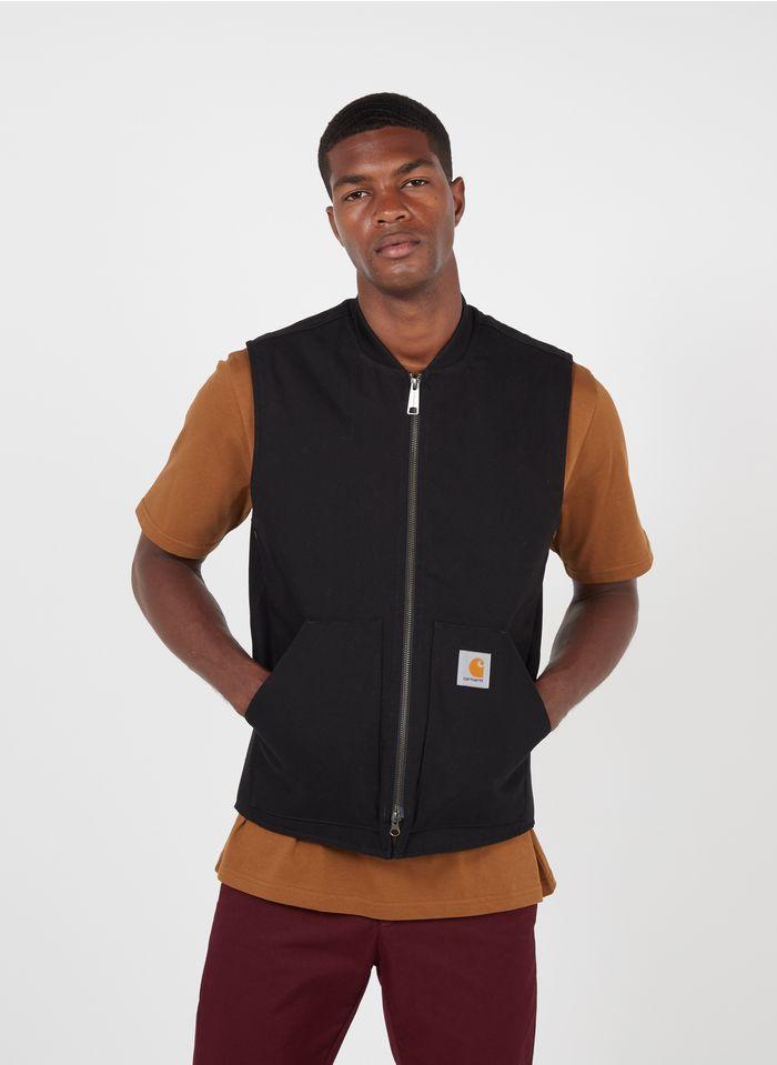 CARHARTT WIP Cazadora sin mangas regular fit de algodón con cuello redondo en negro