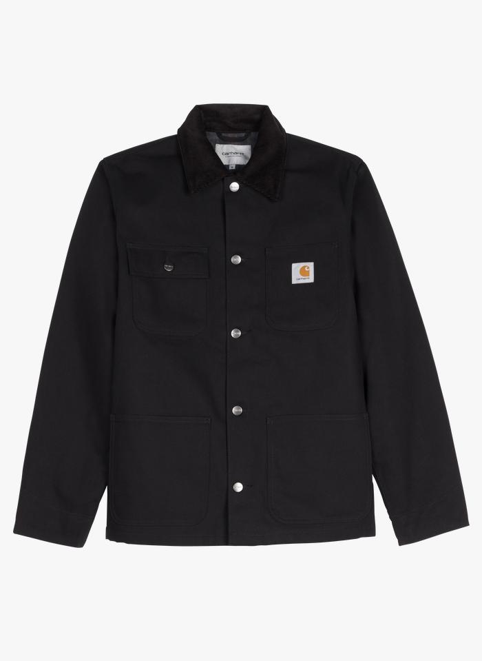 CARHARTT WIP Chaqueta de algodón con cuello clásico en negro