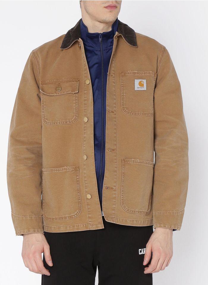 CARHARTT WIP Chaqueta recta abotonada de algodón orgánico con cuello clásico en marrón