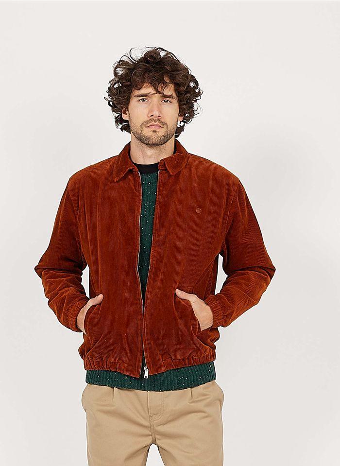 CARHARTT WIP Chaqueta recta de algodón con cuello clásico de pana en marrón