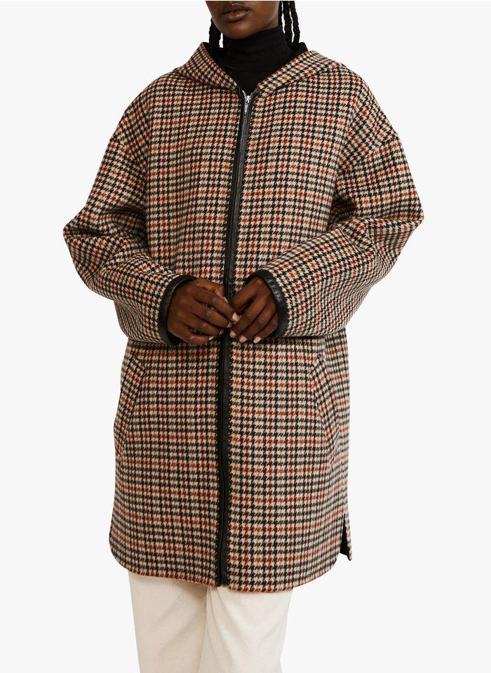 CLAUDIE PIERLOT Abrigo midi de mezcla de lana con motivos de cuadros en multicolor