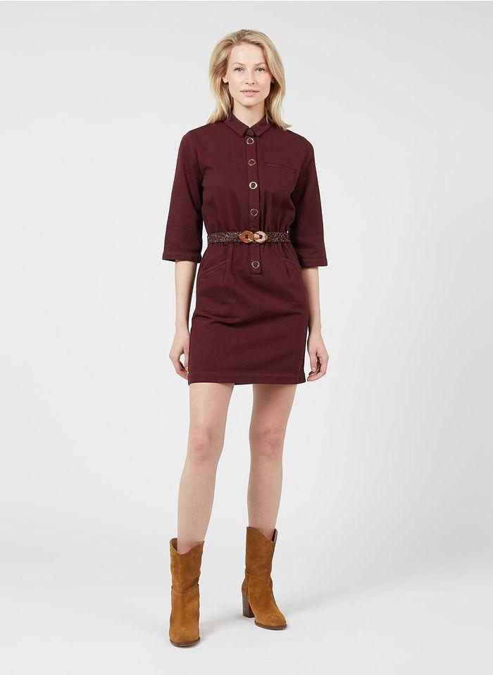 DES PETITS HAUTS Vestido corto de algodón y lyocell con cuello clásico en rojo