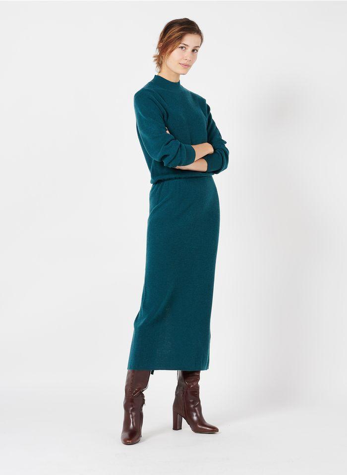 DES PETITS HAUTS Vestido maxi con cuello de pico y abertura en azul