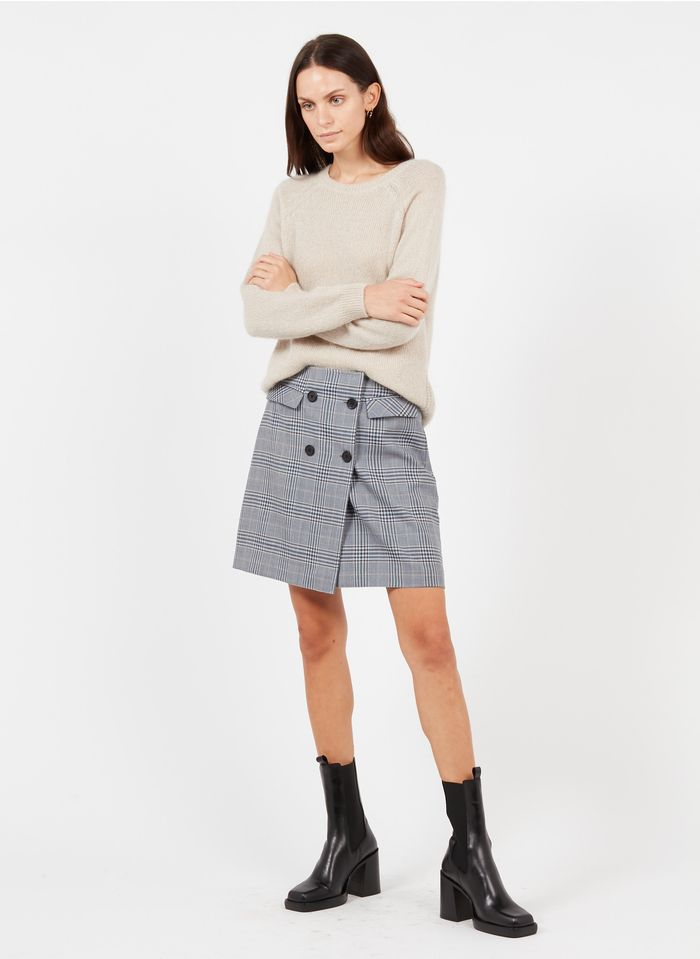 EKYOG Falda corta de lana a cuadros en gris