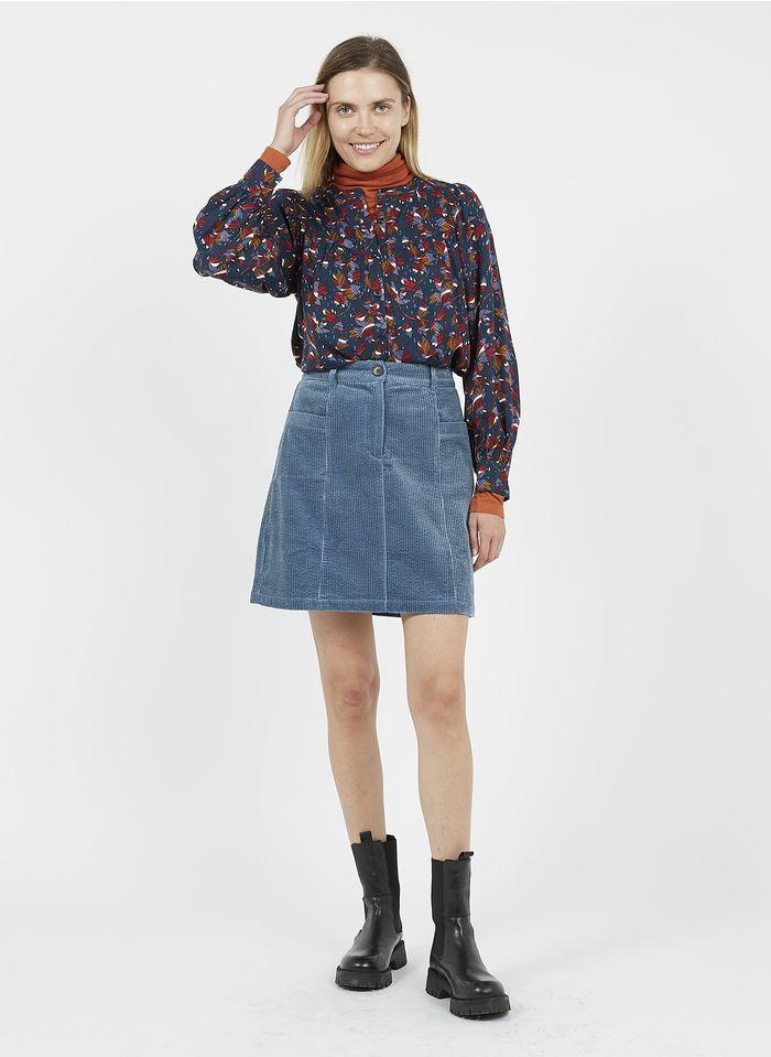 EKYOG Falda corta de pana de algodón en azul