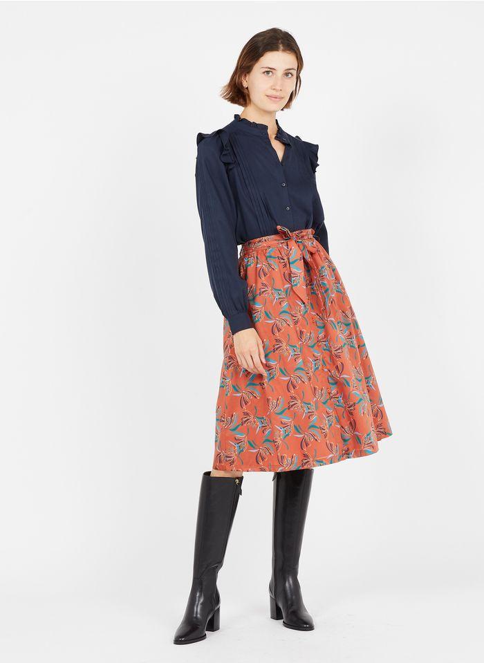 EKYOG Falda midi estampada de algodón orgánico en marrón