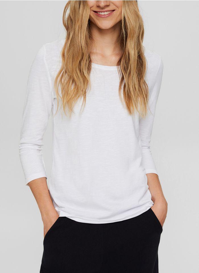 ESPRIT Camiseta de algodón orgánico con cuello redondo en blanco