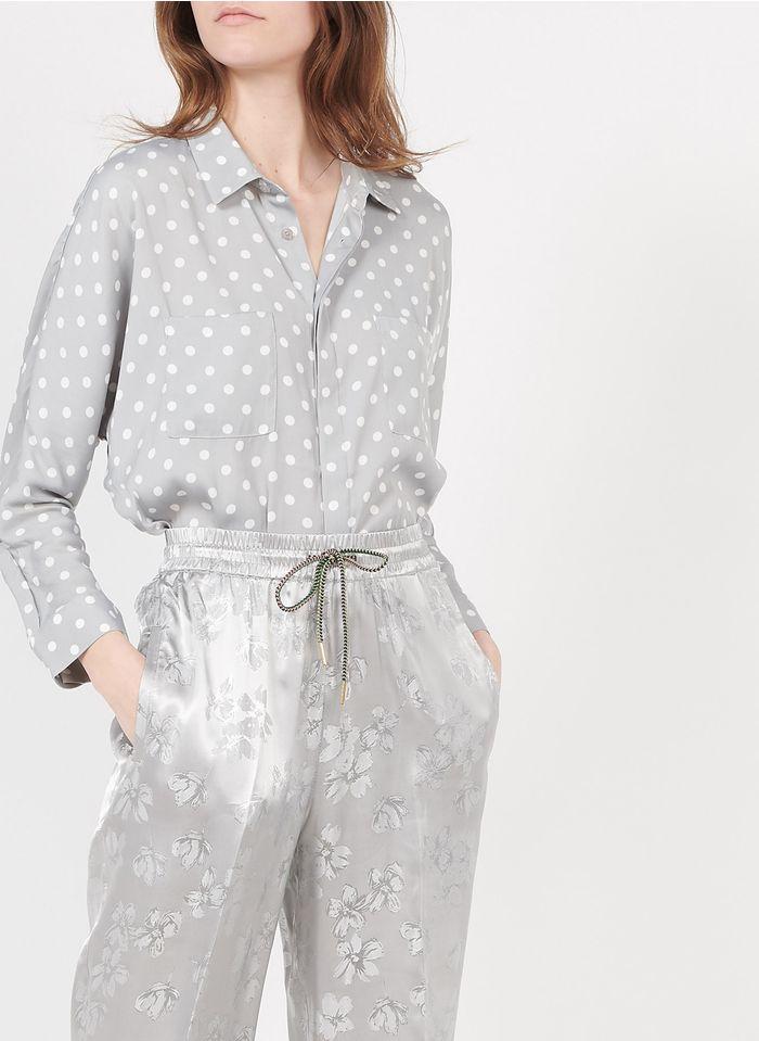ESSENTIEL ANTWERP Camisa holgada con cuello clásico y estampado de lunares en gris