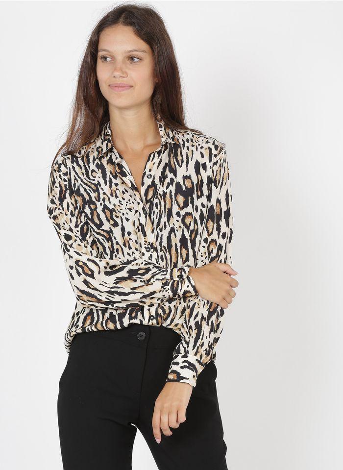 GERARD DAREL Camisa con cuello clásico y estampado de leopardo en beige
