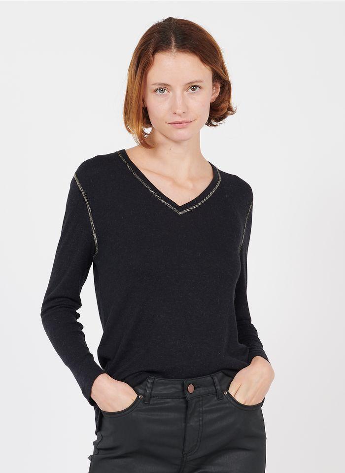 GERARD DAREL Camiseta con cuello de pico en negro