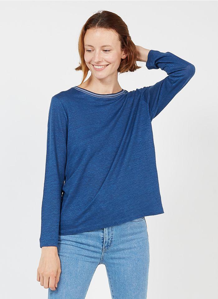 GERARD DAREL Camiseta de lino con cuello redondo en vaquero stone