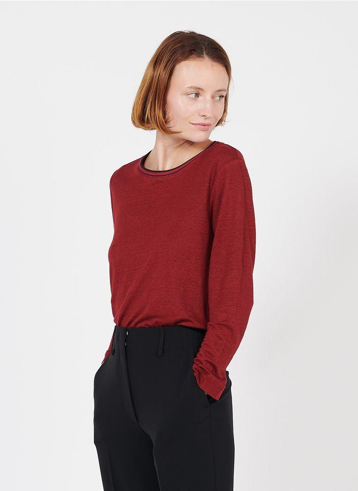 GERARD DAREL Camiseta de lino con detalles y cuello redondo en rojo