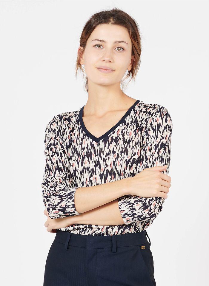 GERARD DAREL Camiseta estampada de manga larga con cuello de pico en blanco