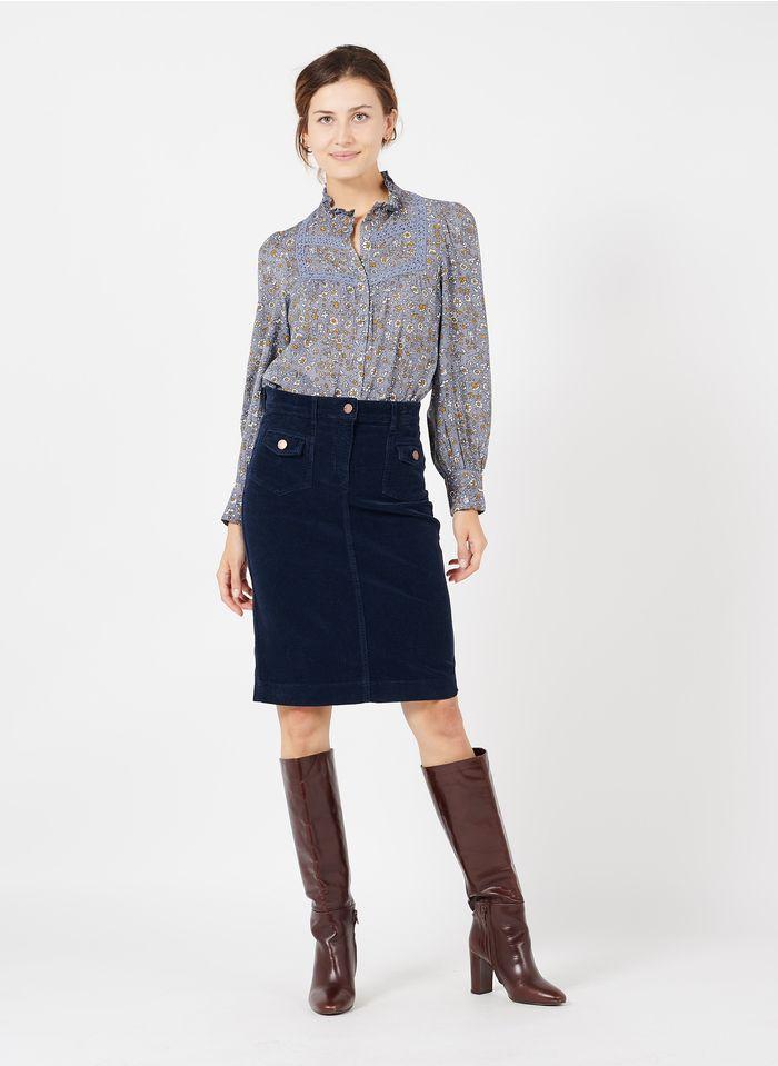 GERARD DAREL Falda corta de pana en azul