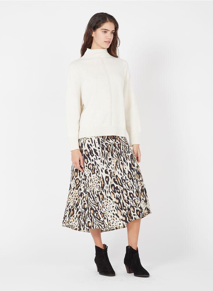 GERARD DAREL Falda midi con estampado de leopardo en beige