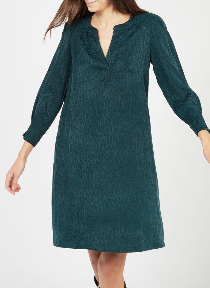 GERARD DAREL Vestido corto de jacquard con cuello tunecino en verde