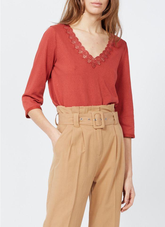 GRACE ET MILA Camiseta de mezcla de algodón con cuello de pico en naranja