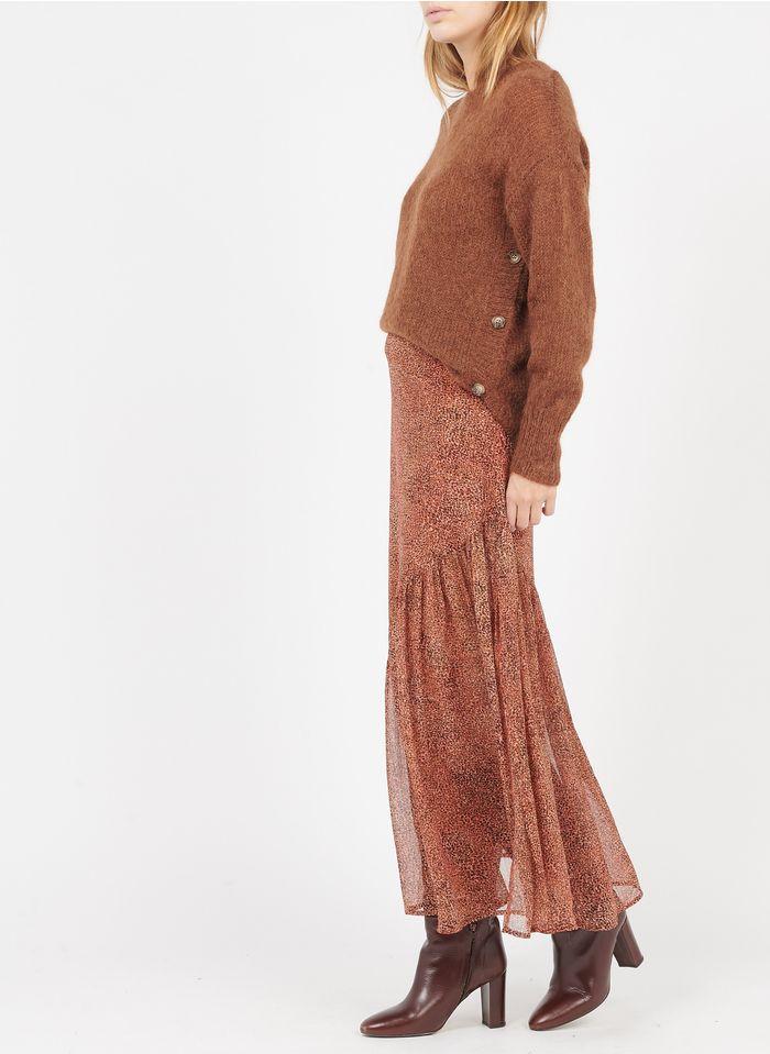GRACE ET MILA Falda larga de gasa estampada en rosa