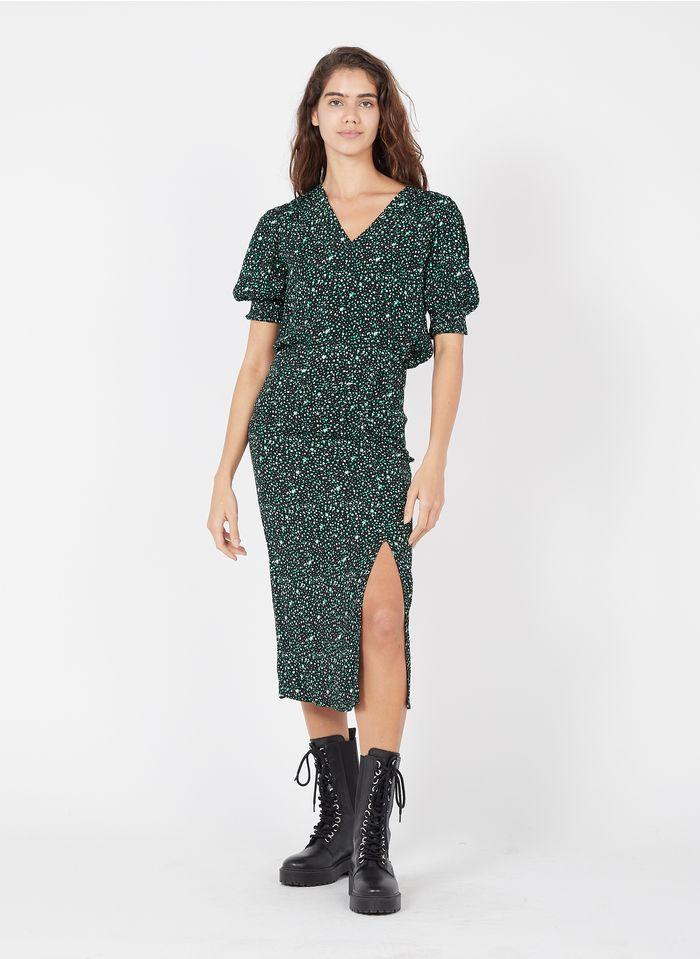 GRACE ET MILA Falda midi de crepé estampada con abertura en negro