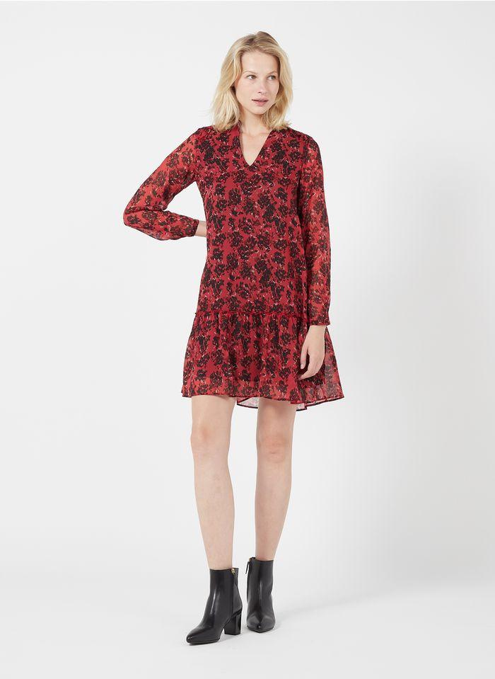 IKKS Vestido corto con cuello tunecino y estampado floral en rosa