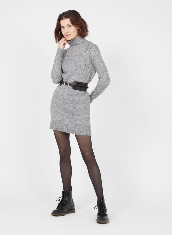 IKKS Vestido corto de mezcla de lana con cuello vuelto y tachuelas en gris