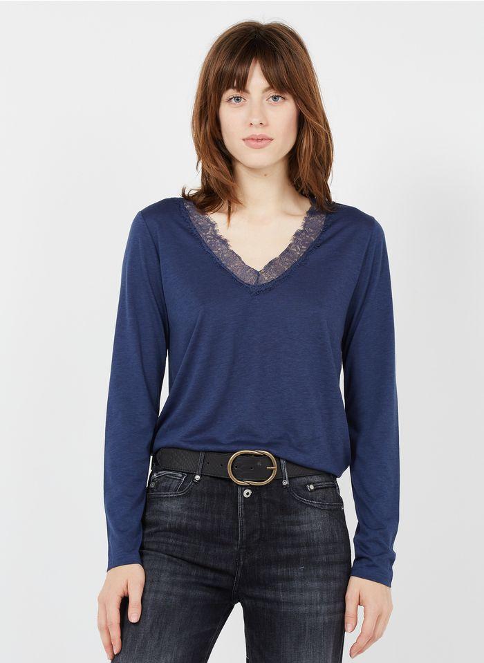LA FEE MARABOUTEE Camiseta de mezcla de lyocell con cuello de pico y encaje en azul