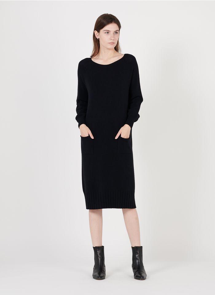LA FEE MARABOUTEE Vestido corto de punto con cuello redondo en negro