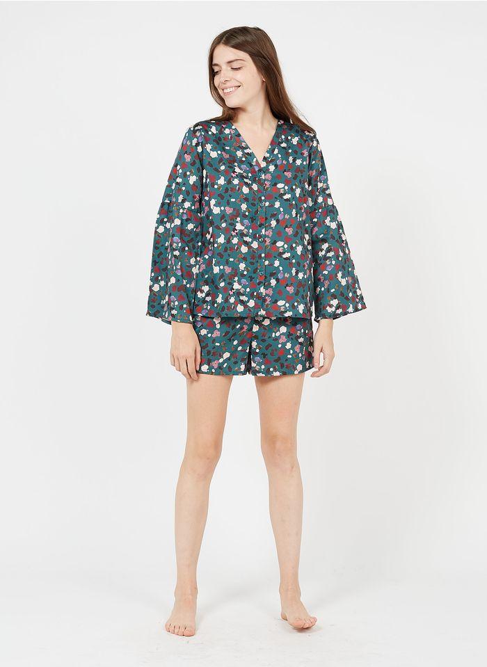 LAURENCE TAVERNIER Pijama corto estampado de algodón en azul
