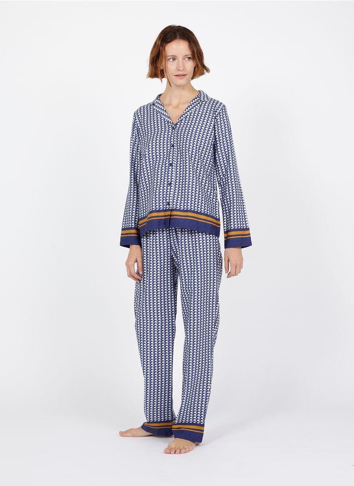 LAURENCE TAVERNIER Pijama estampado de algodón en azul