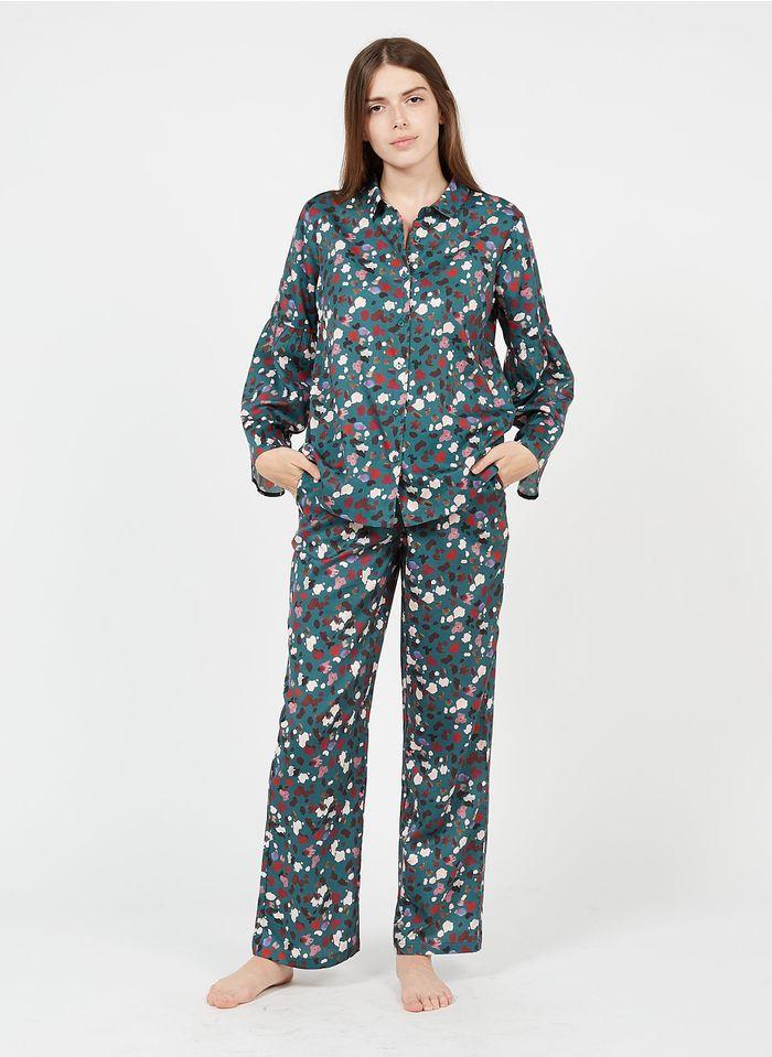 LAURENCE TAVERNIER Pijama largo de algodón estampado en azul