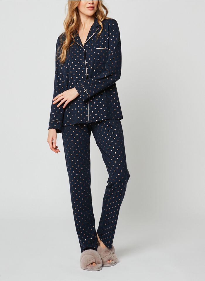 LE CHAT Pijama de algodón con estampado de círculos en azul