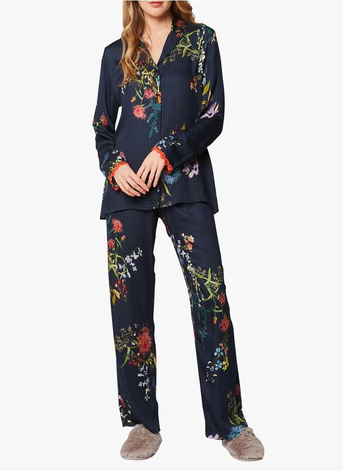 LE CHAT Pijama largo con estampado de flores en multicolor