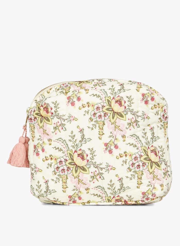 LOUISE MISHA Neceser acolchado de algodón orgánico con estampado de flores en beige