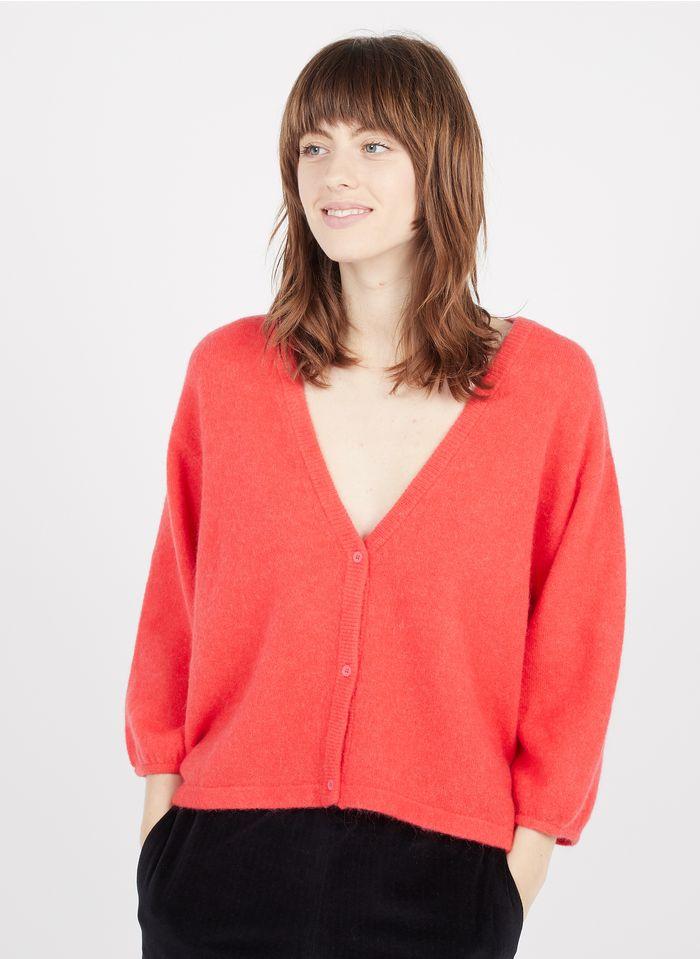 MARIE SIXTINE Cárdigan holgado de mezcla de lana con cuello de pico en rojo