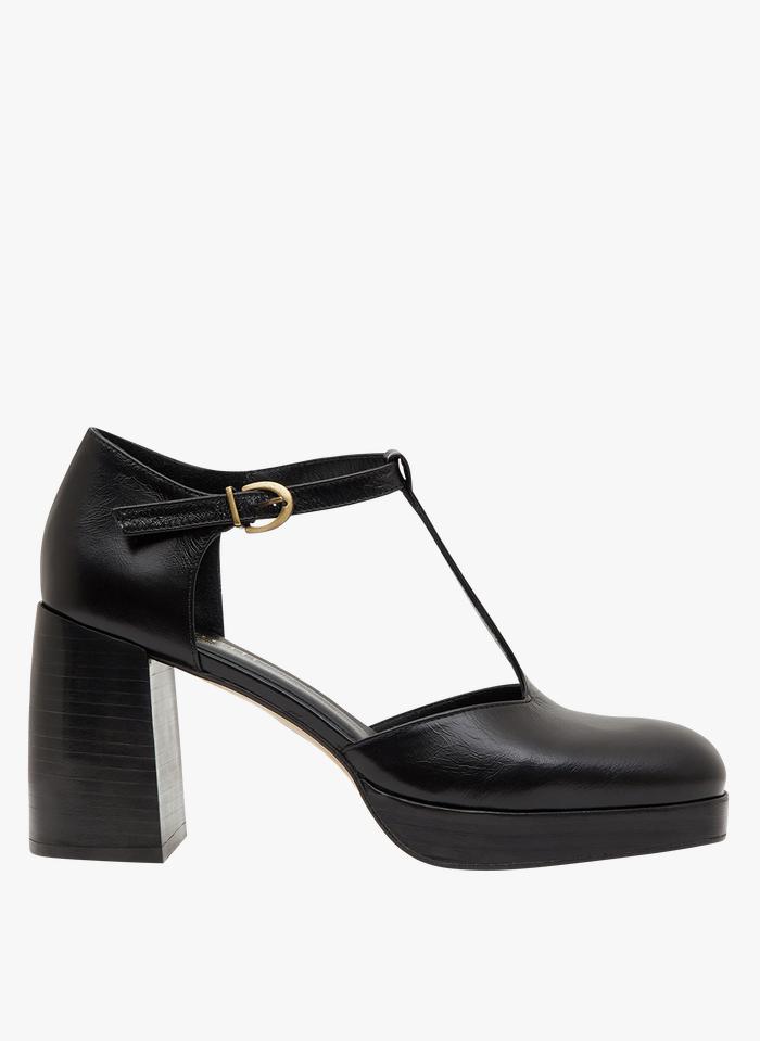 MINELLI Zapatos de salón de piel con puntera cuadrada en negro