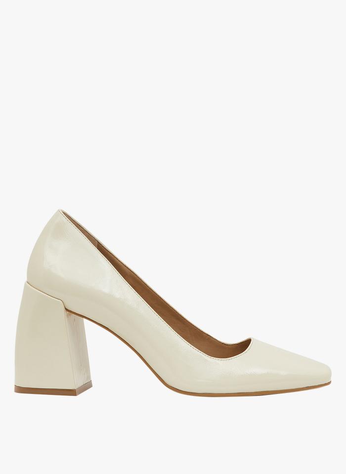 MINELLI Zapatos de salón de piel con tacón cuadrado en beige